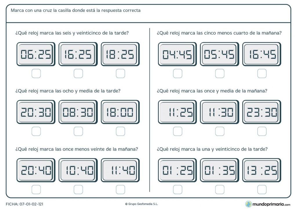 Ficha de seleccionar los minutos y horas que marca cada reloj