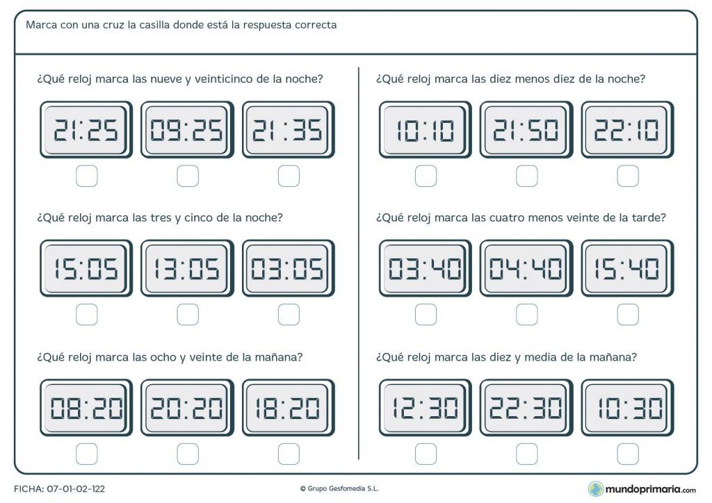 Ficha de diferenciar mañana y noche en relojes digitales para Primaria