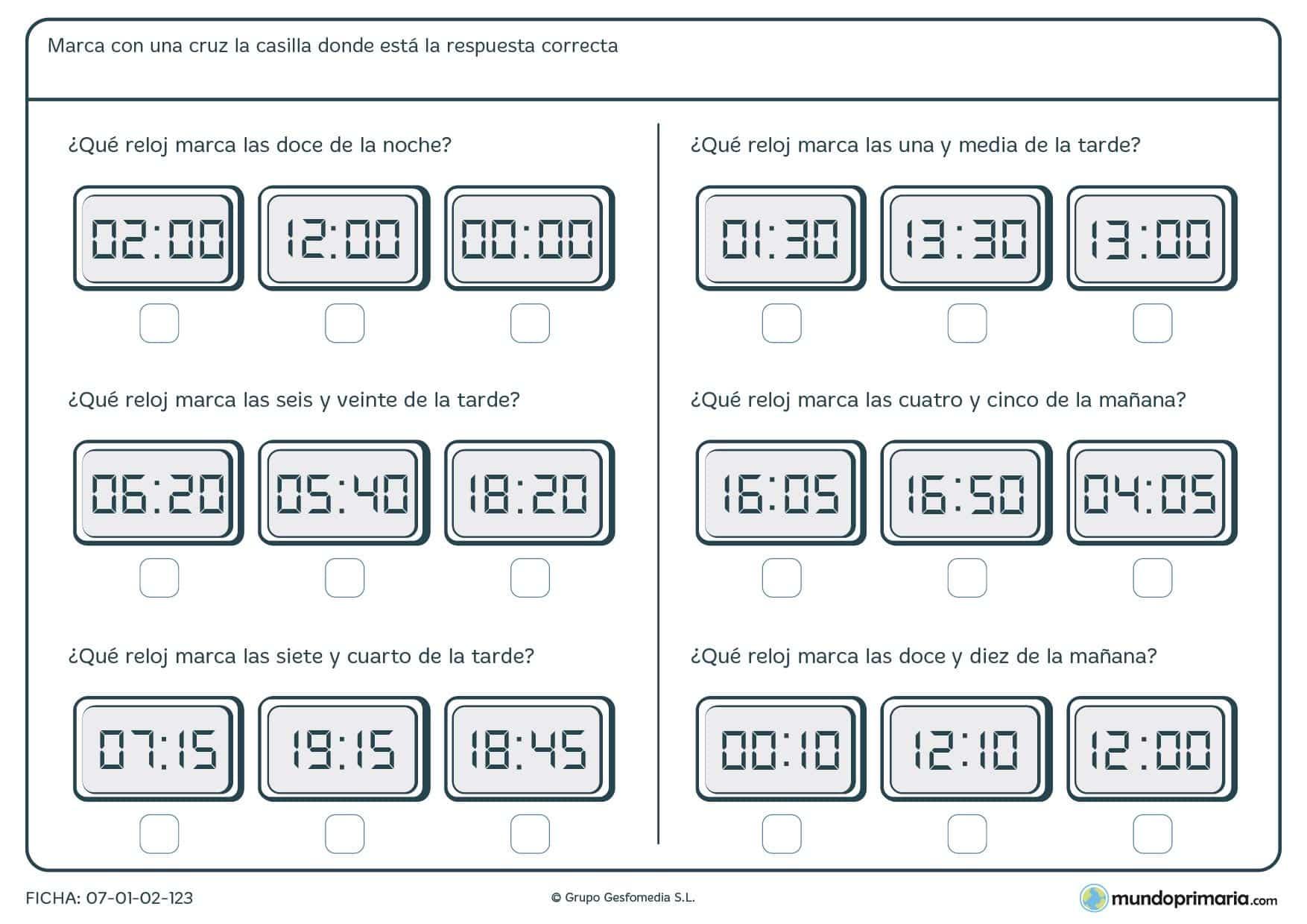 Ficha de seleccionar la hora exacta en relojes digitales para Primaria