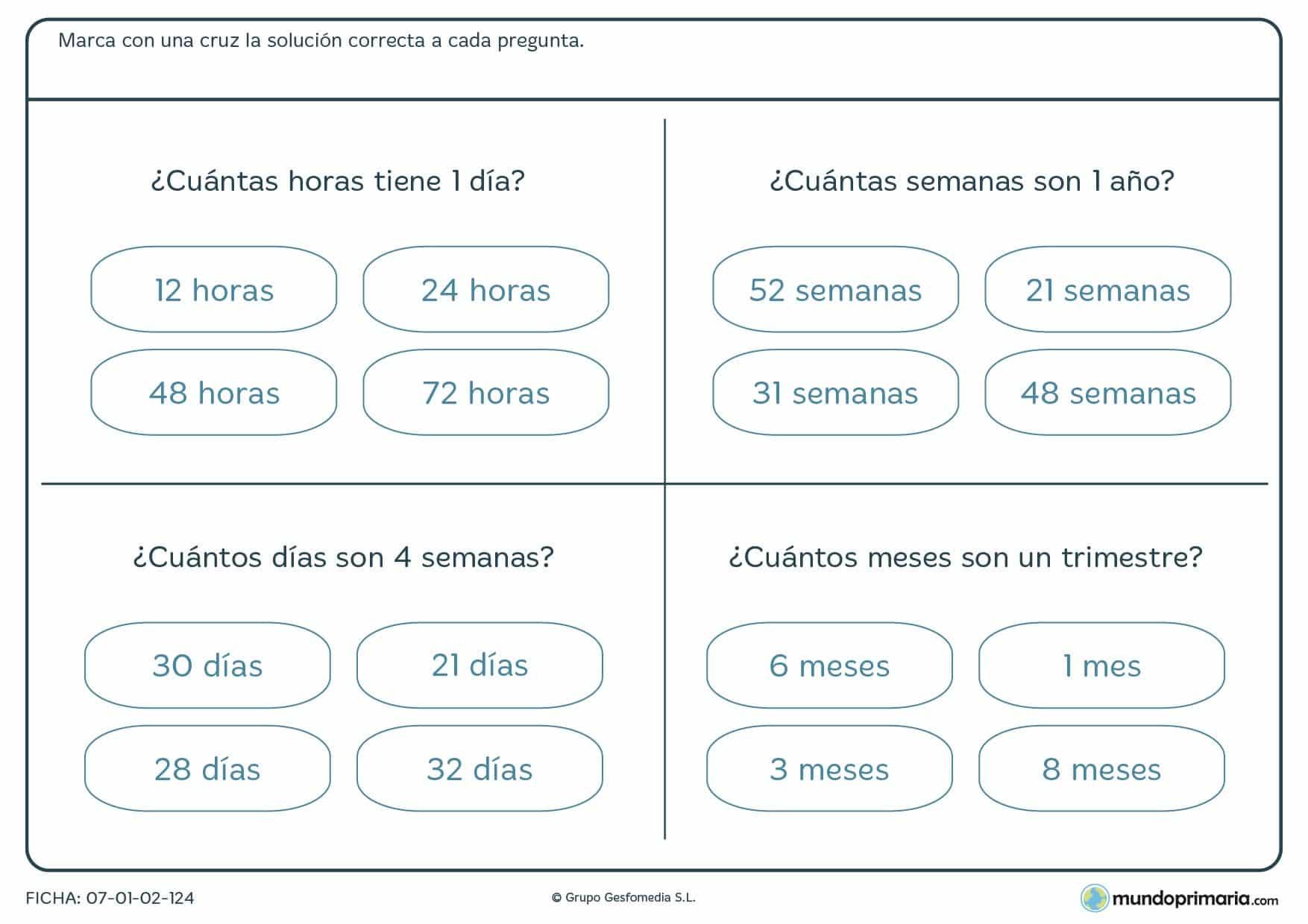 Ficha de composición de días, semanas, trimiestre y años para Primaria
