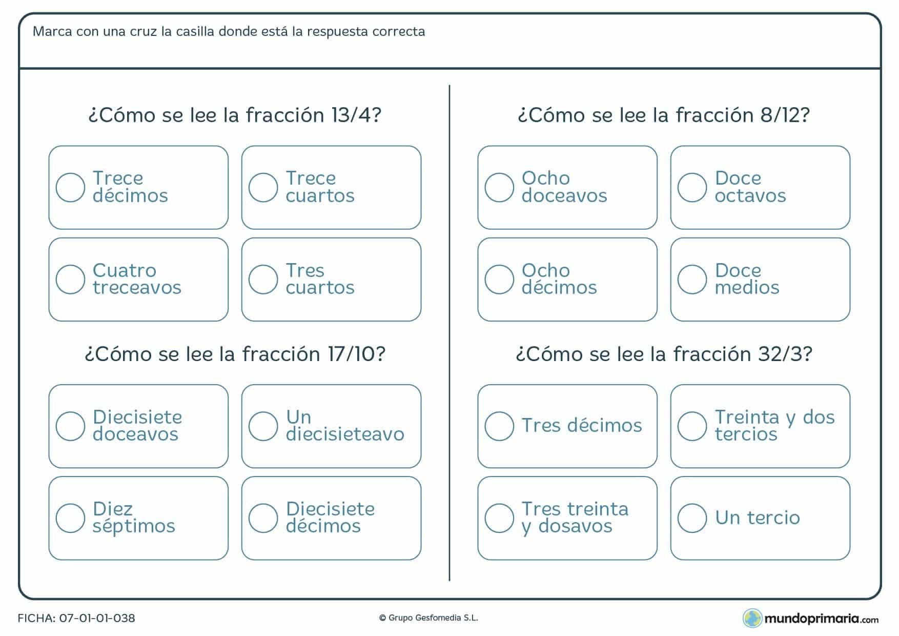 Ficha de leer las franciones para alumnos de 6º de Primaria de números