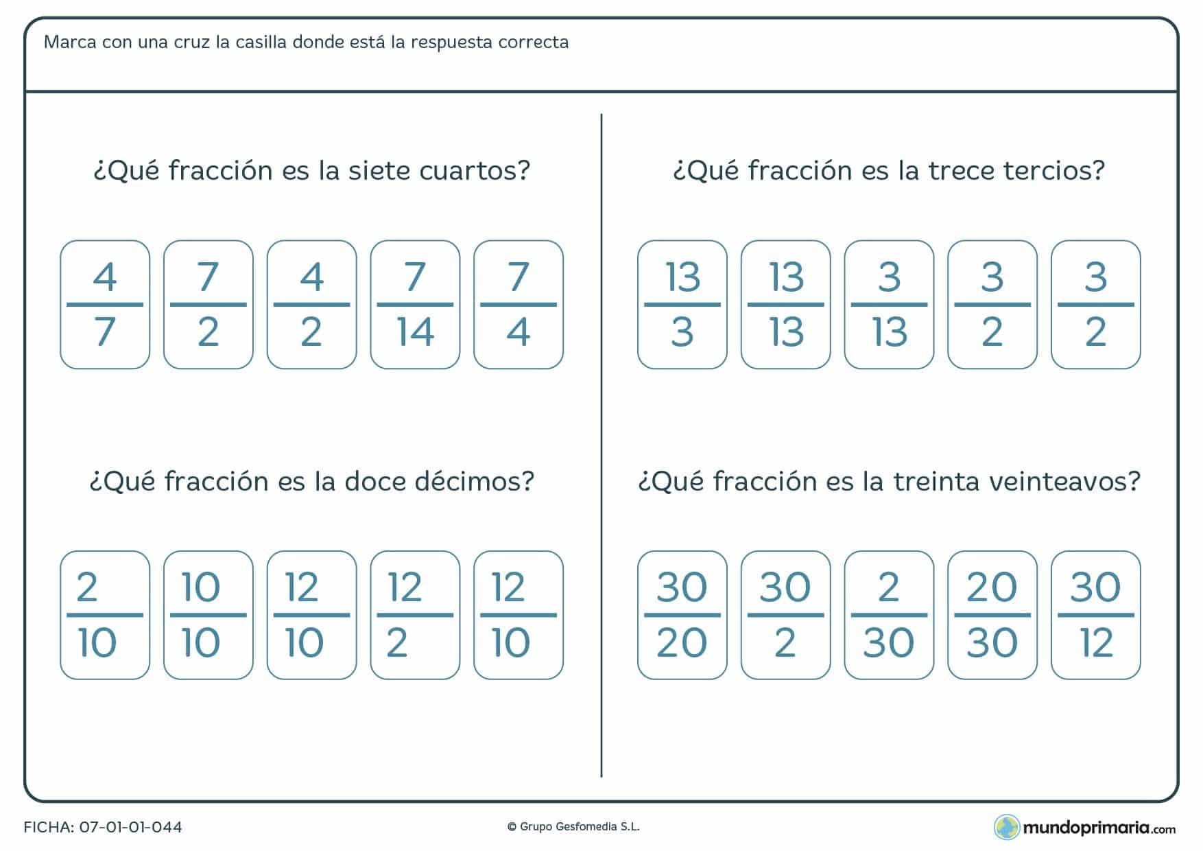 Ficha de buscar la fracción como respuesta para niños de Primaria