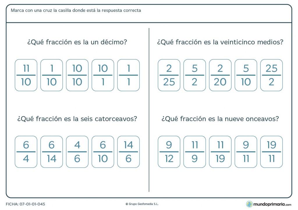 Responde a las preguntas sobre fracciones de esta ficha para 5º curso