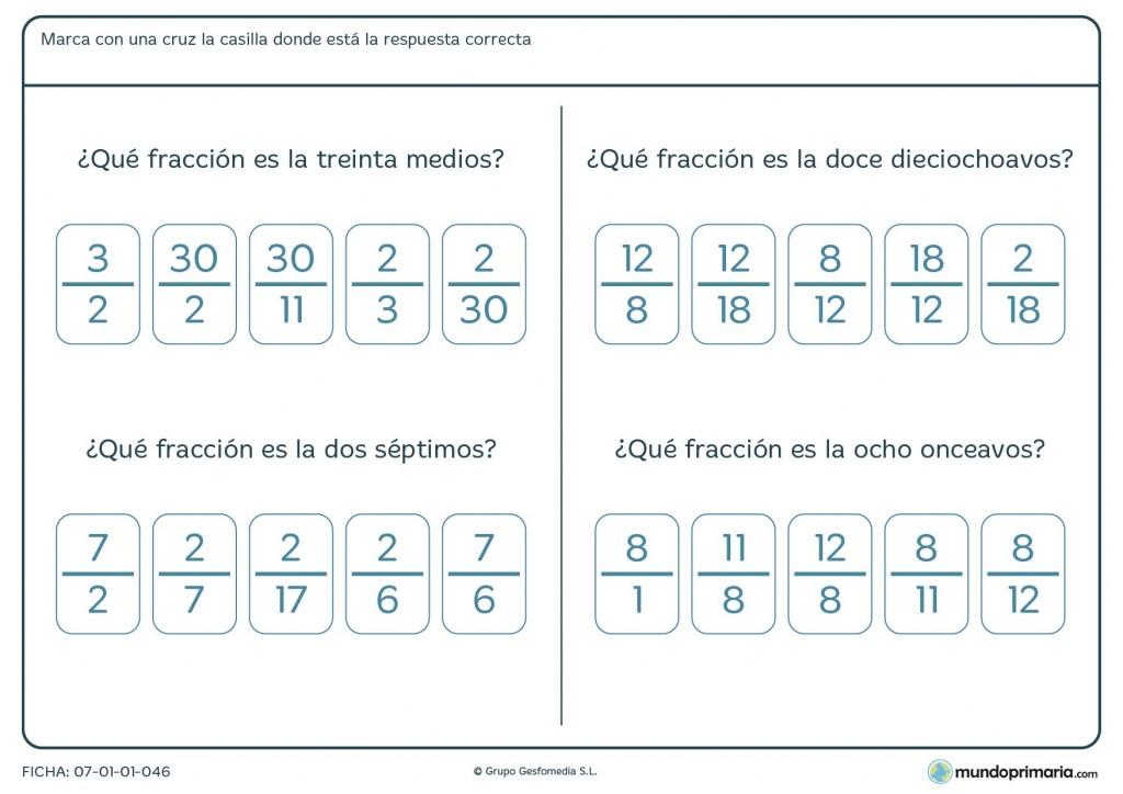 Ficha sobre porciones en fracción niños de Primaria de 5º curso