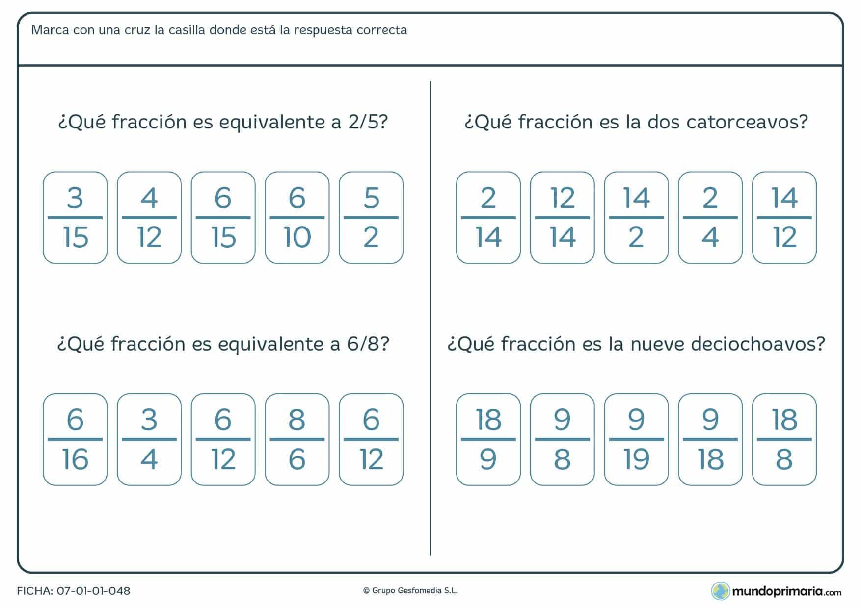 Lámina de equivalencia de fracciones para Primaria y para niños de 5º