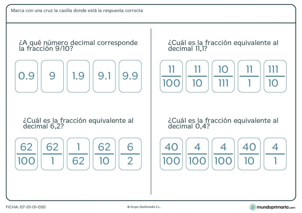 ¿A qué número decimal corresponden estas fracciones? Para Primaria