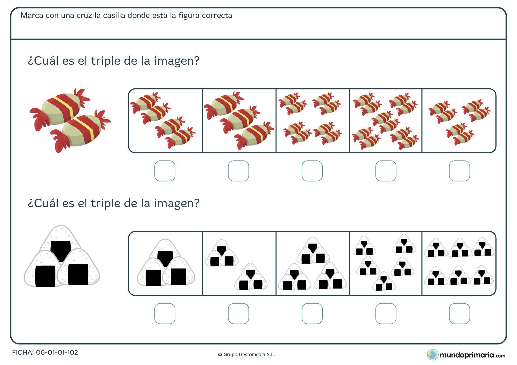 Para niños resolver el triple de caramelos y arroz de los dibujos
