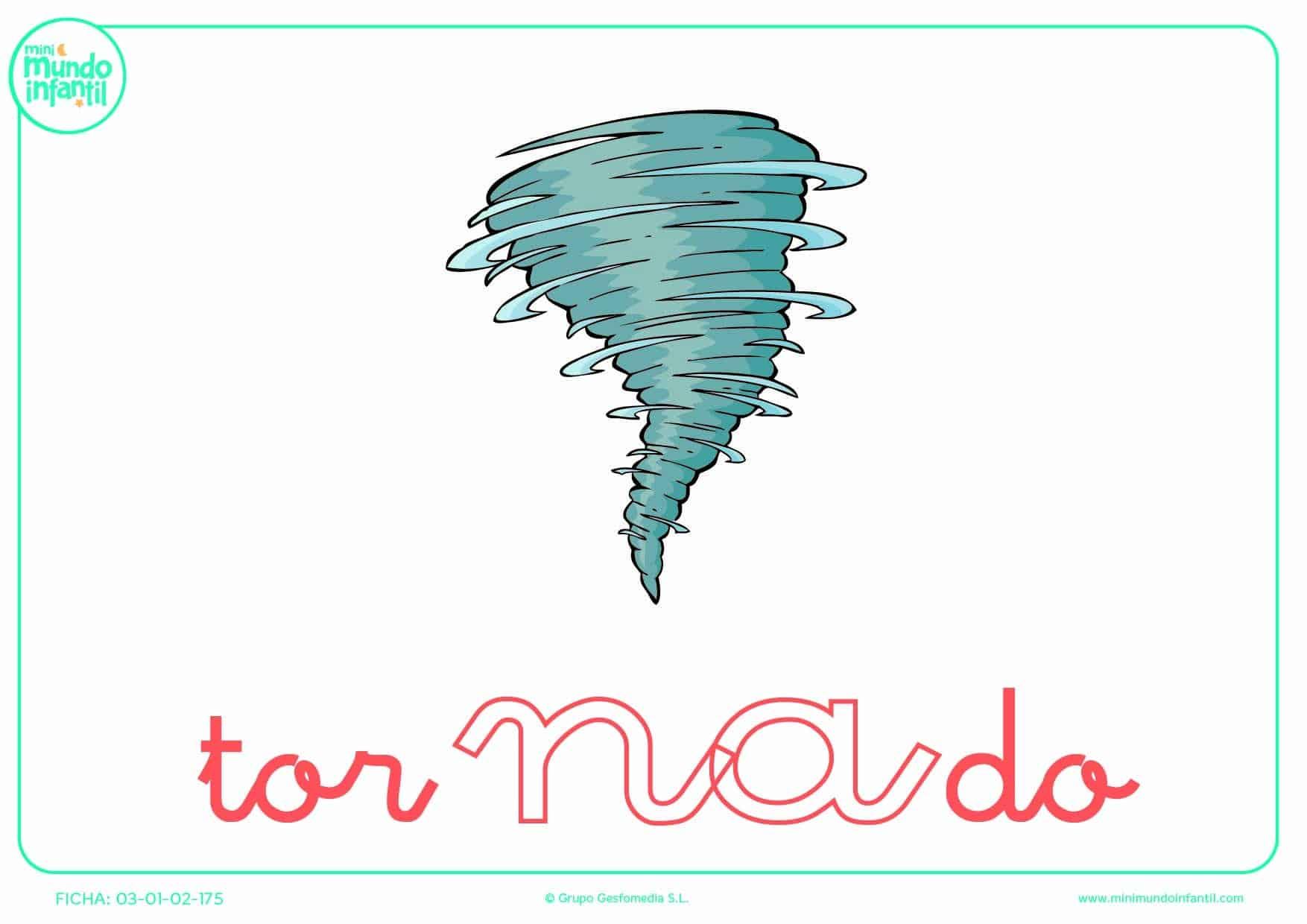 Pinta la sílaba NA minúscula de tornado