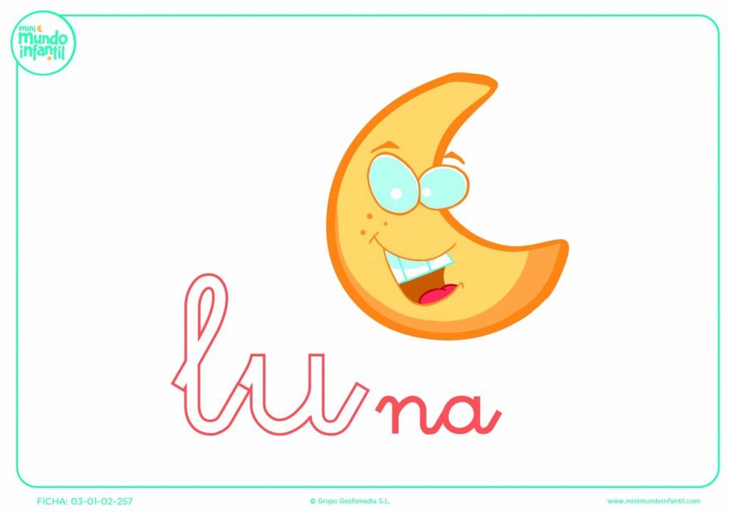Pintar la sílaba LU minúscula de luna