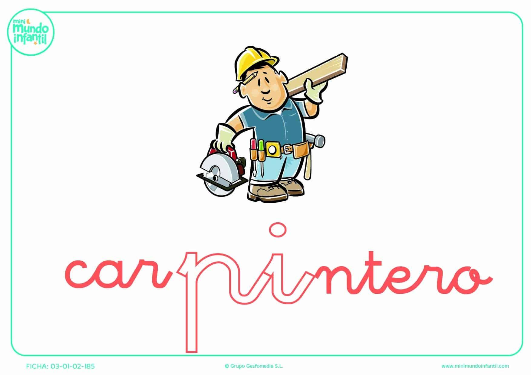 Pintar la sílaba PI de carpintero en minúsculas