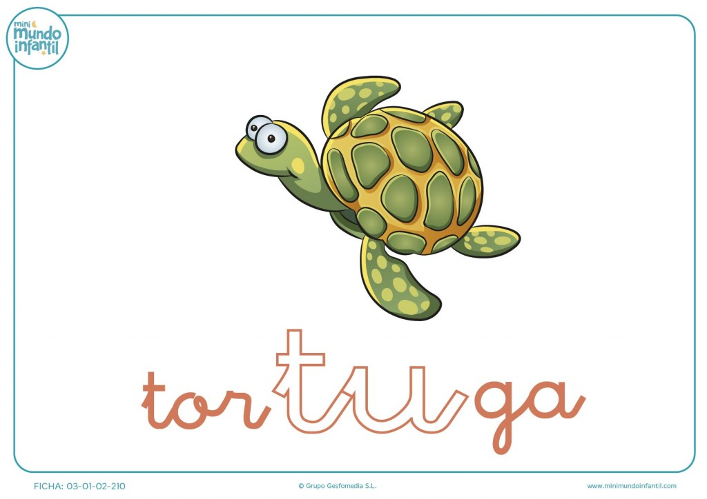 Pintar la sílaba TU de tortuga en minúsculas