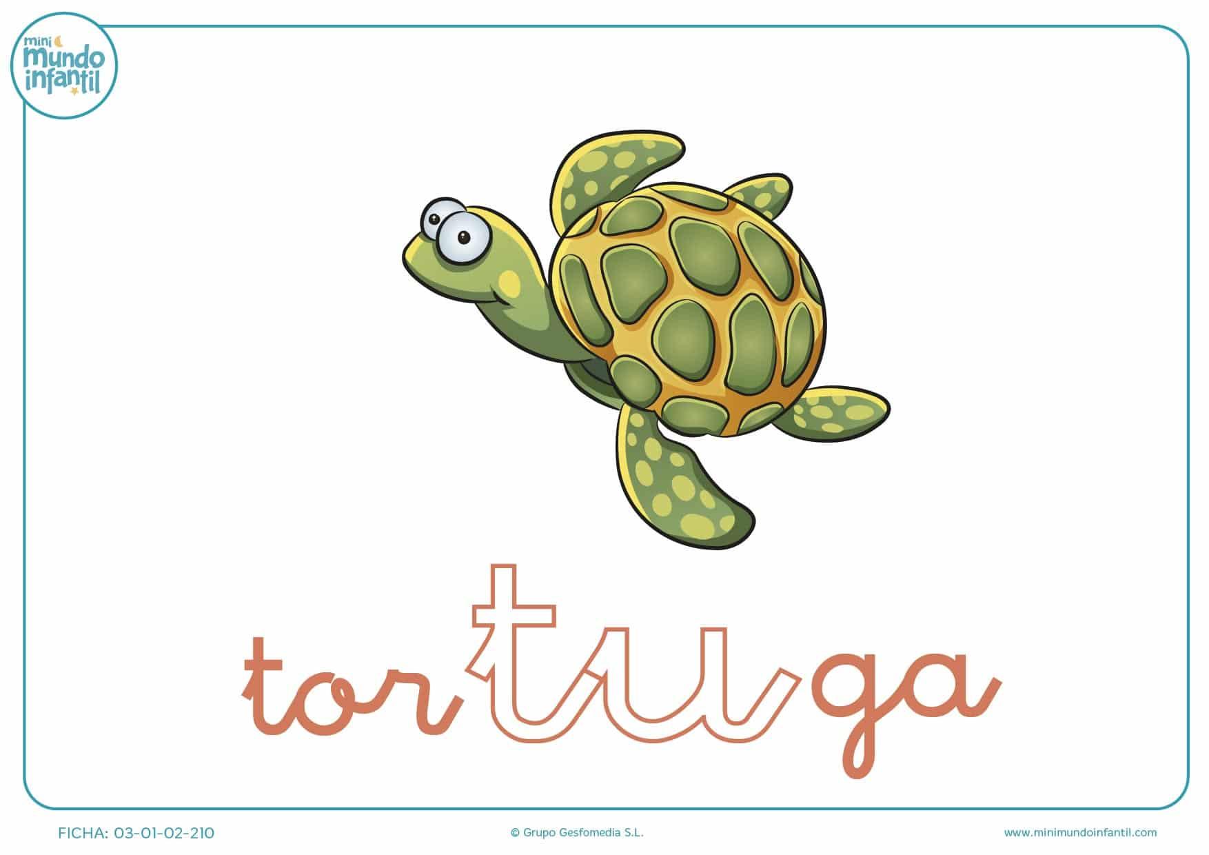 Pintar la silaba TU de tortuga en minusculas