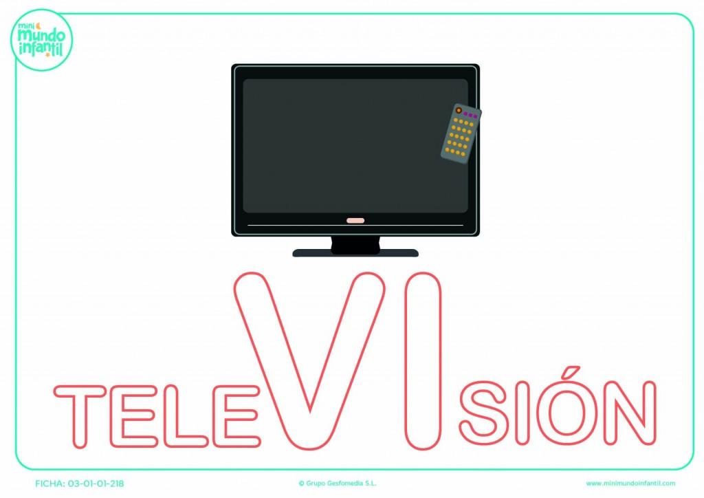 Pintar la sílaba VI mayúscula de televisión