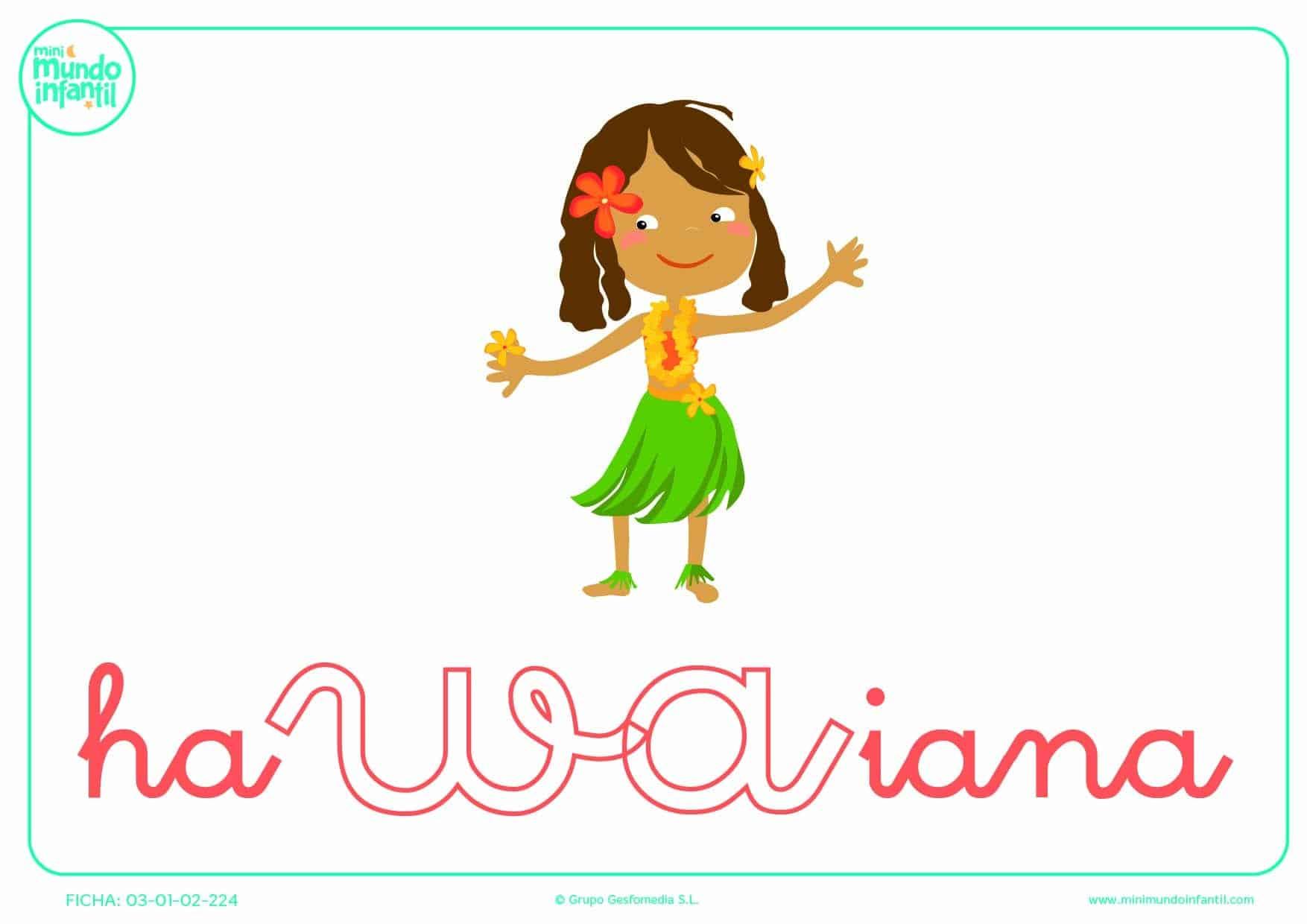 Pintar la sílaba WA de hawaiana en minúsculas