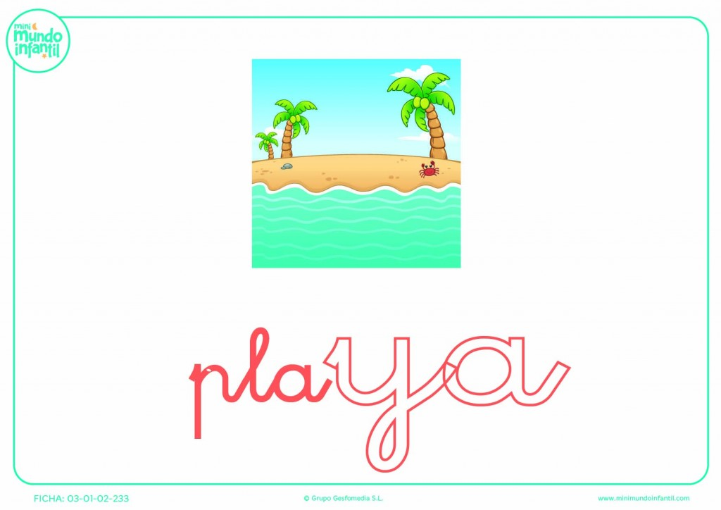 Pintar la sílaba YA de playa en minúsculas