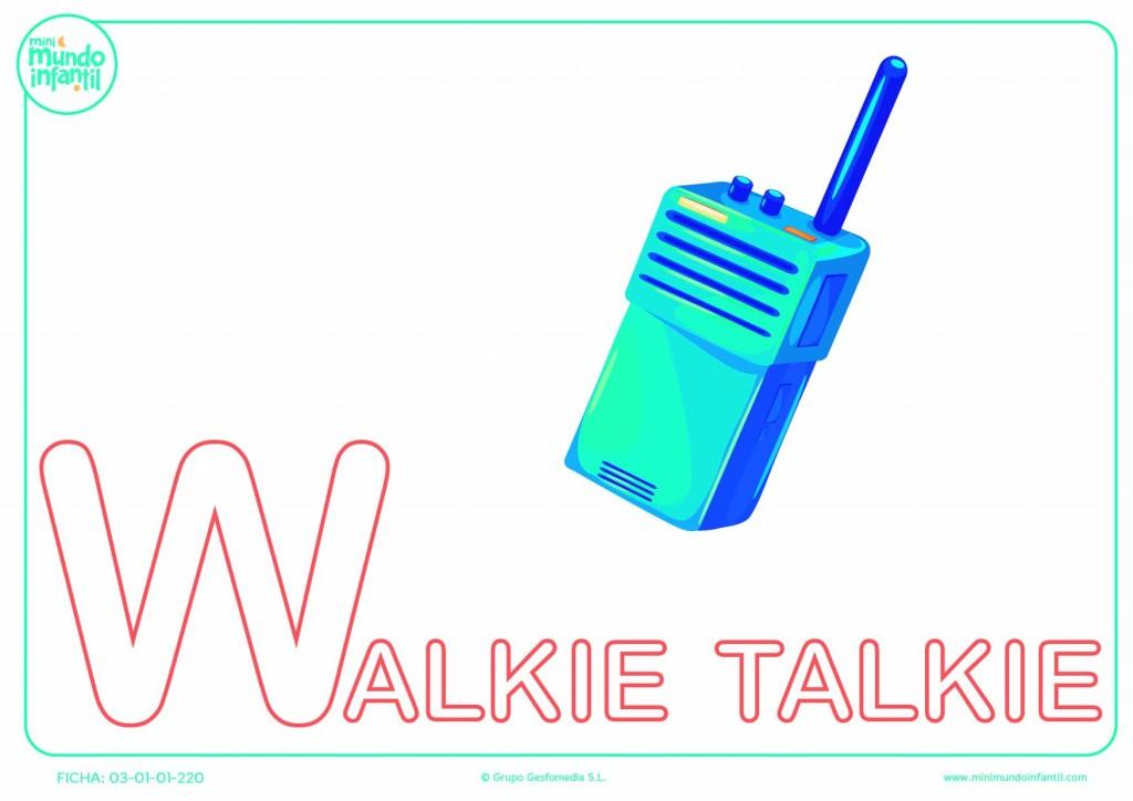 Pintar letra W mayúscula de walkie-talkie