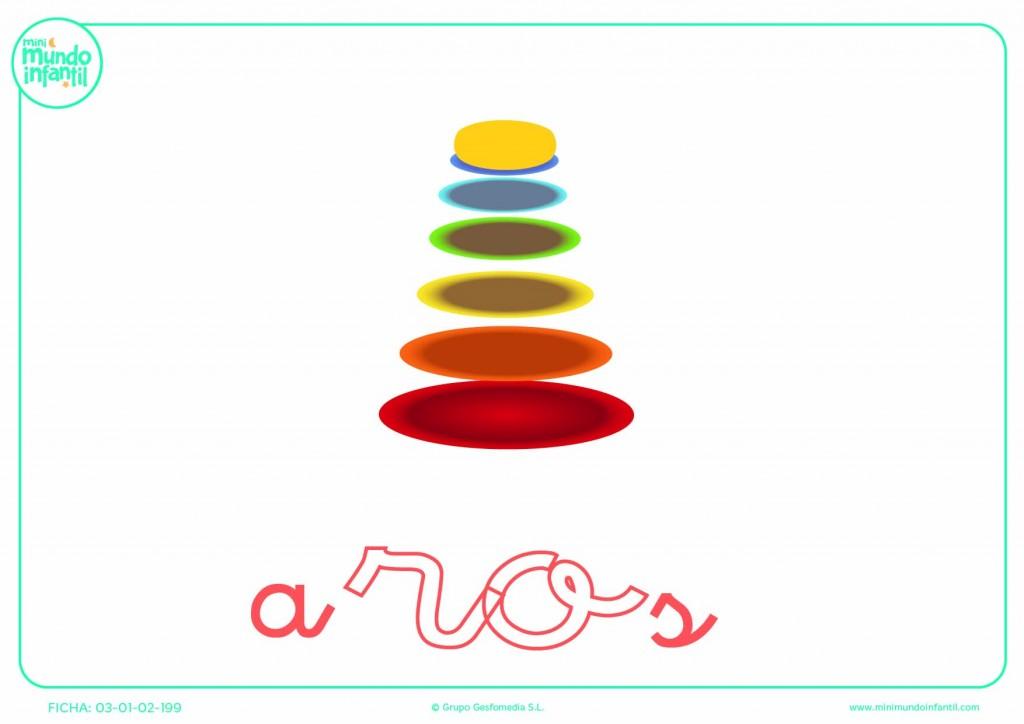 Poner color a la sílaba RO de aros en minúsculas