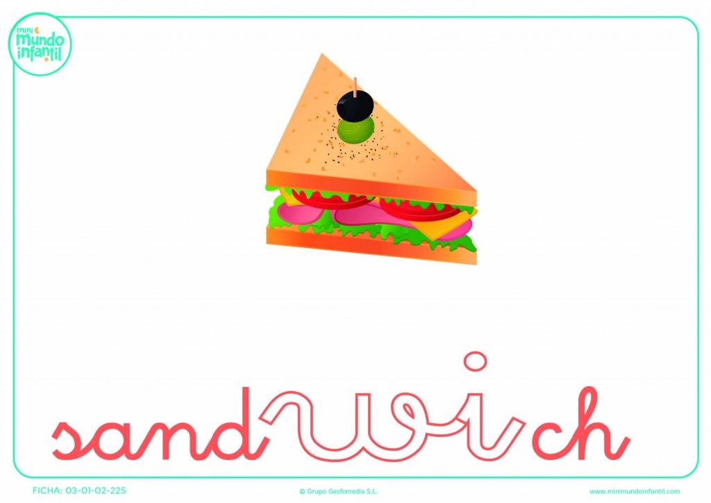 Poner color a la sílaba WI de sandwich en minúsculas