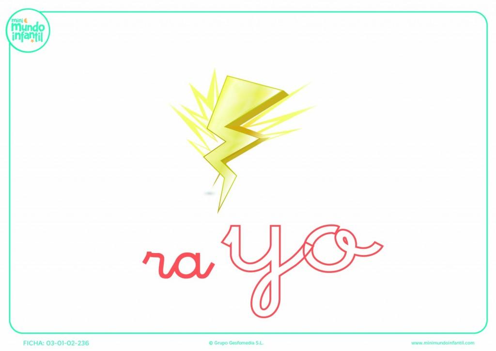 Poner color a la sílaba YO de rayo en minúsculas