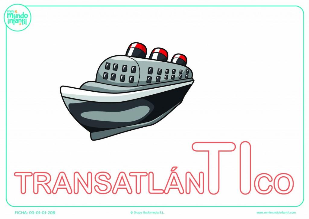 Rellenar la sílaba TI de transatlántico en mayúsculas