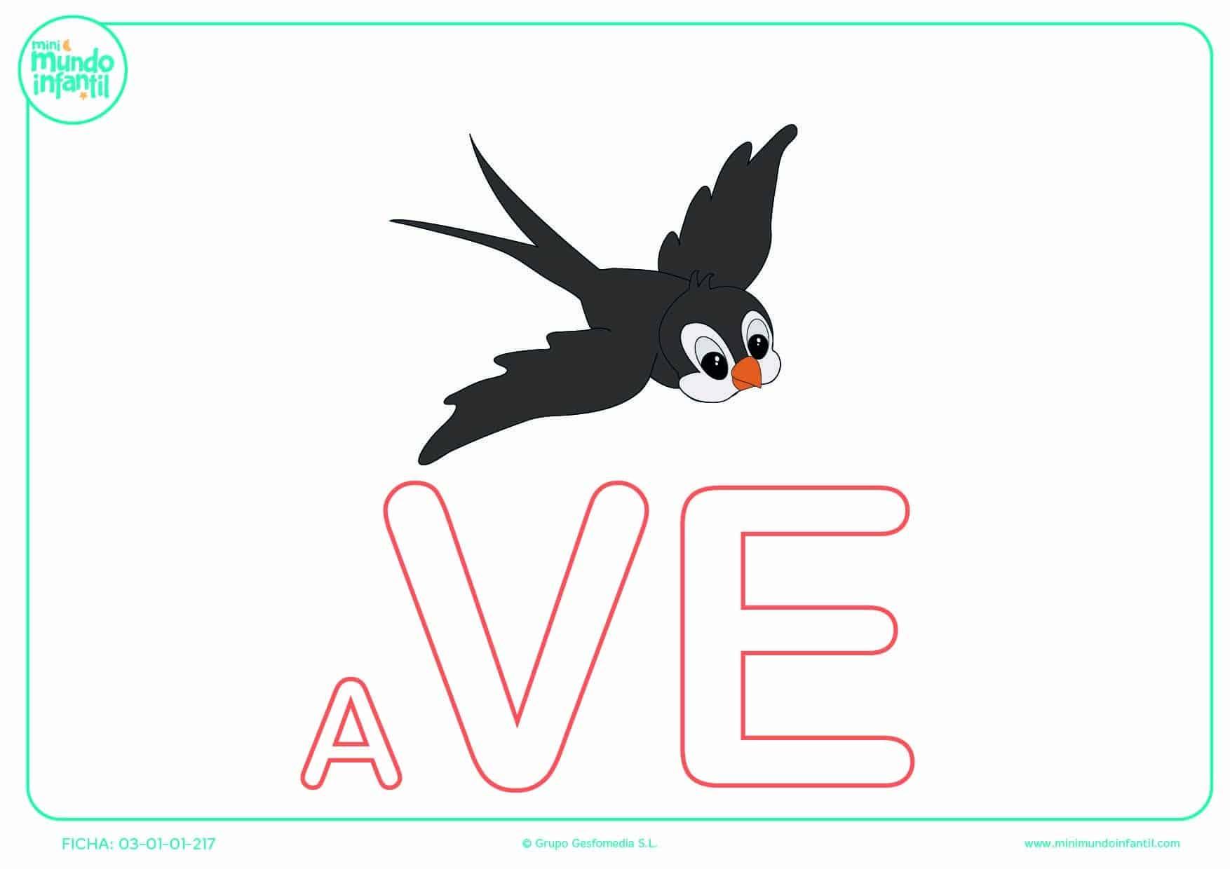 Rellenar la sílaba VE mayúscula de ave