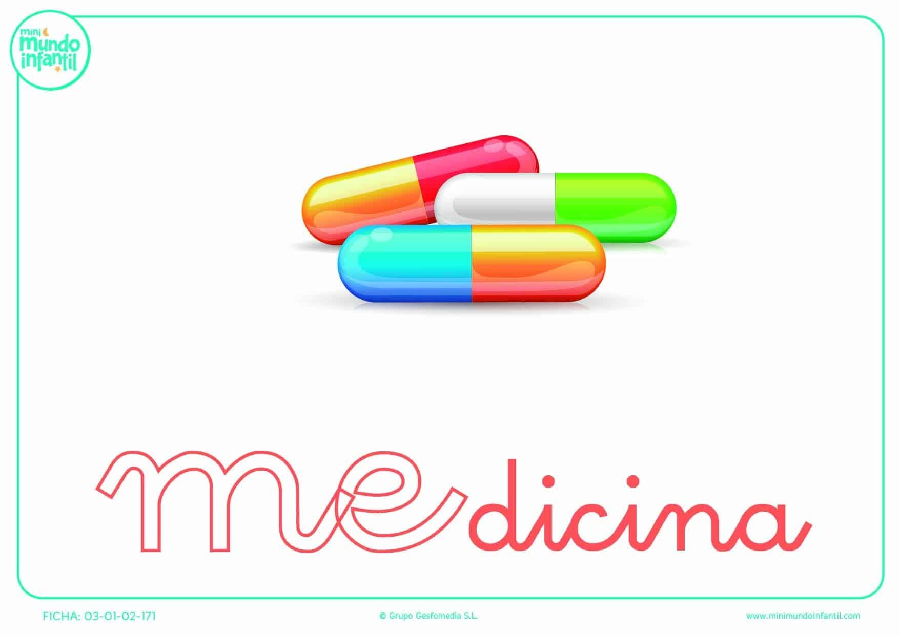 Sílaba ME minúscula de medicina para colorear