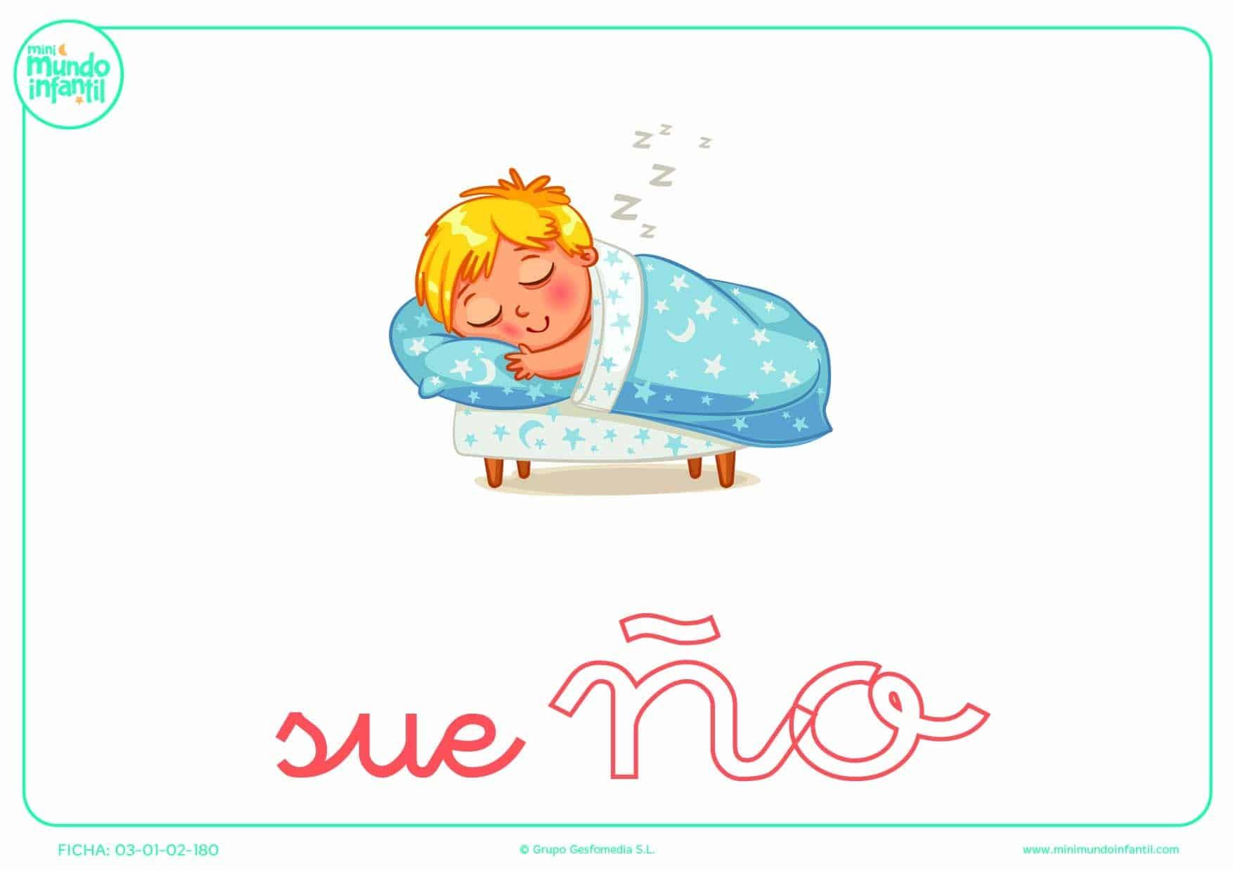 Sílaba ÑO minúscula de sueño para completar