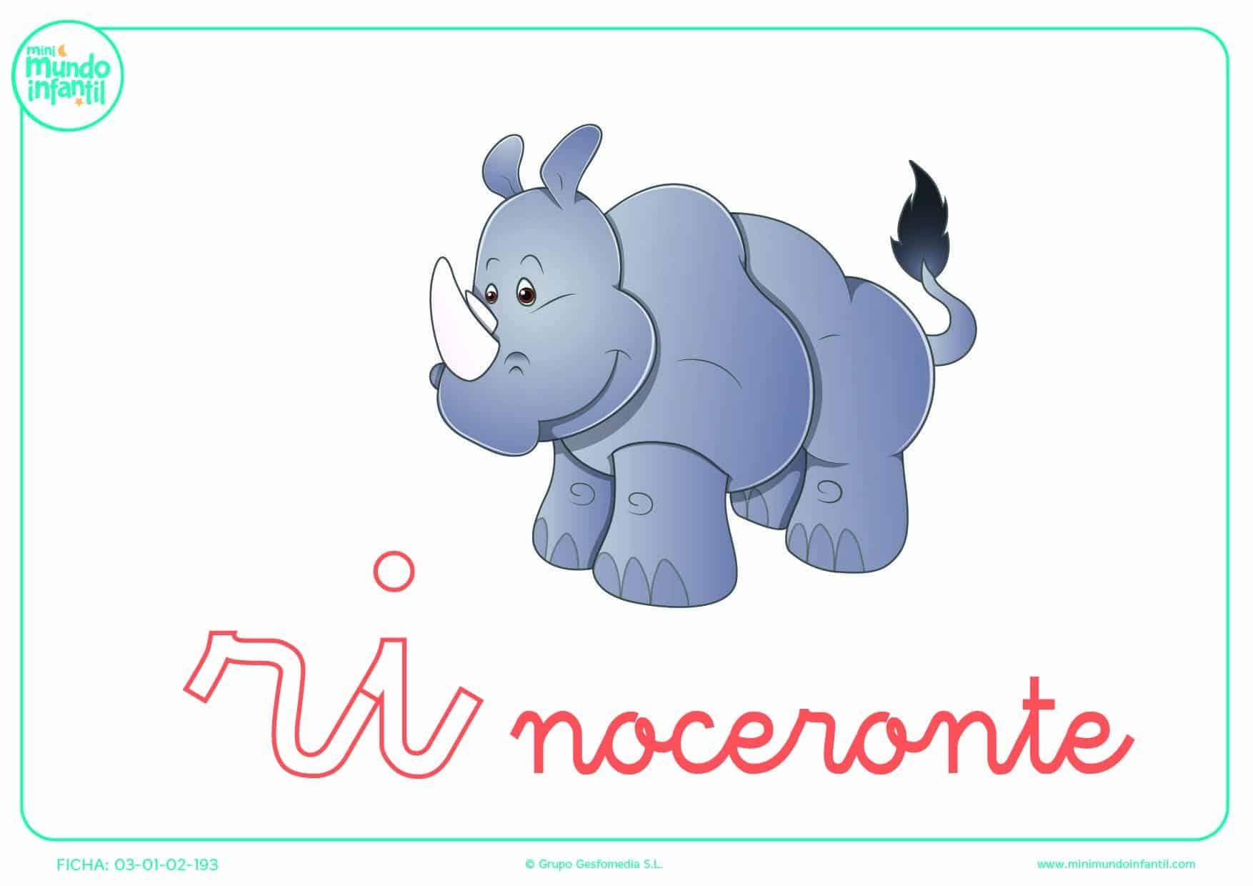 Sílaba RI minúscula de rinoceronte para rellenar