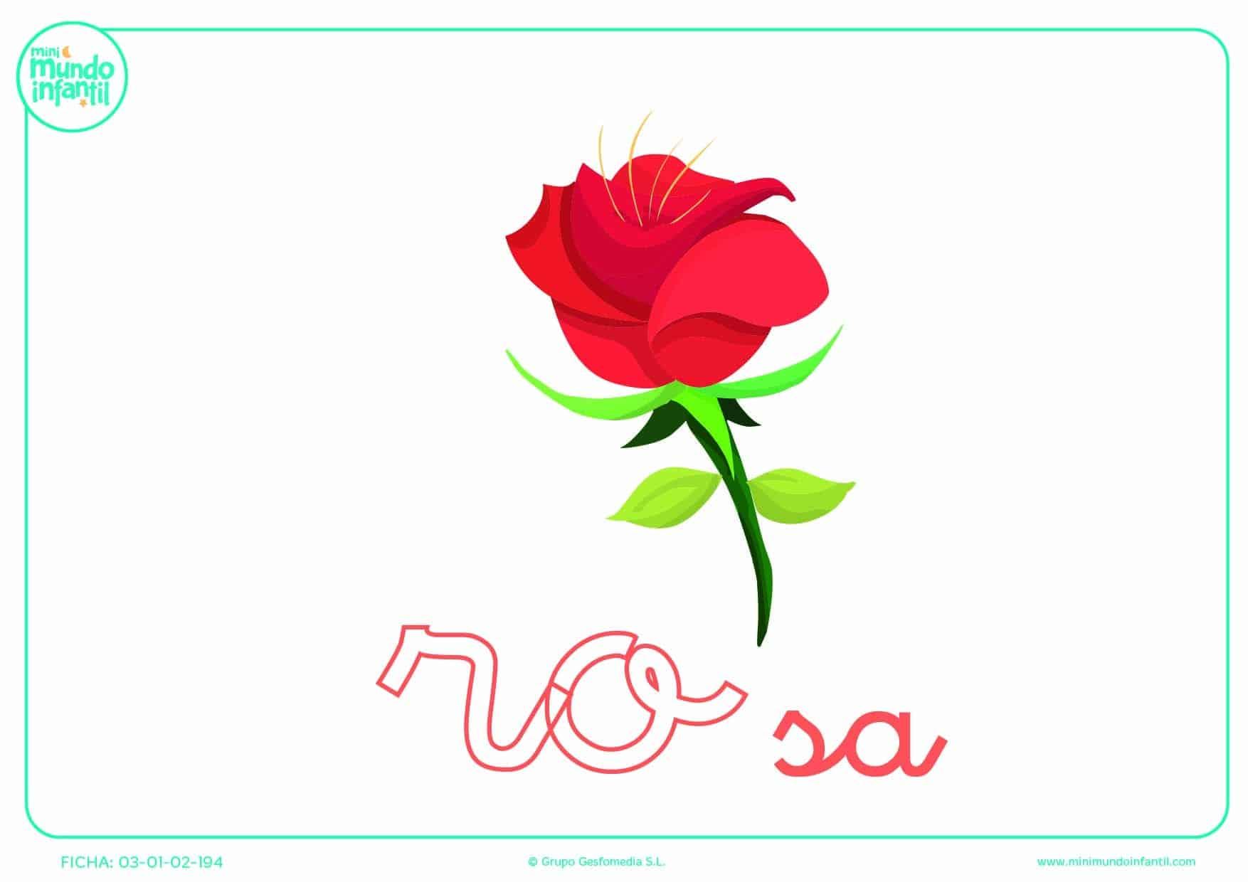 Sílaba RO minúscula de rosa para poner color