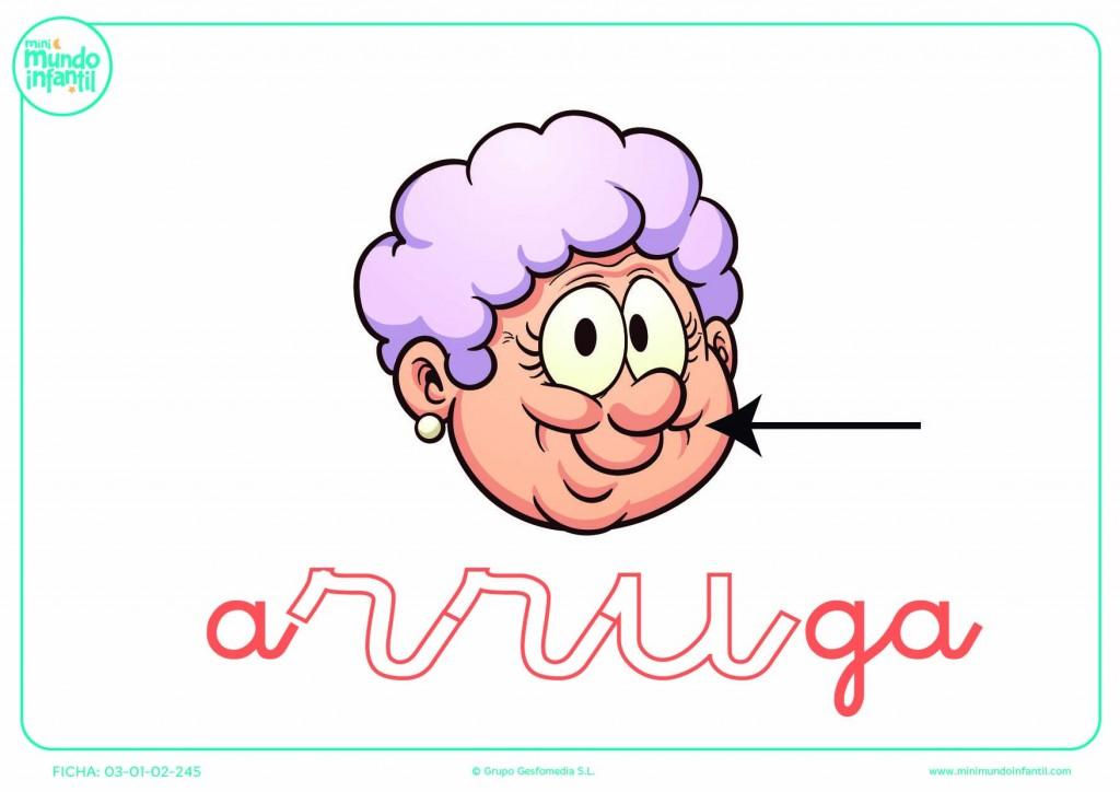 Sílaba RRU de arruga en minúsculas para colorear