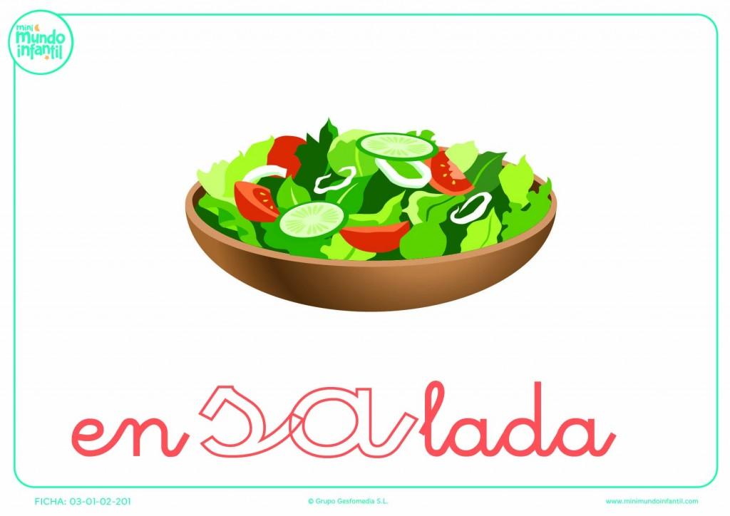 Sílaba SA de ensalada en minúsculas para colorear
