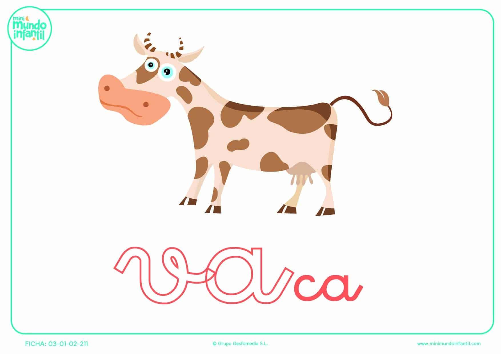 Sílaba VA de vaca en minúsculas para pintar