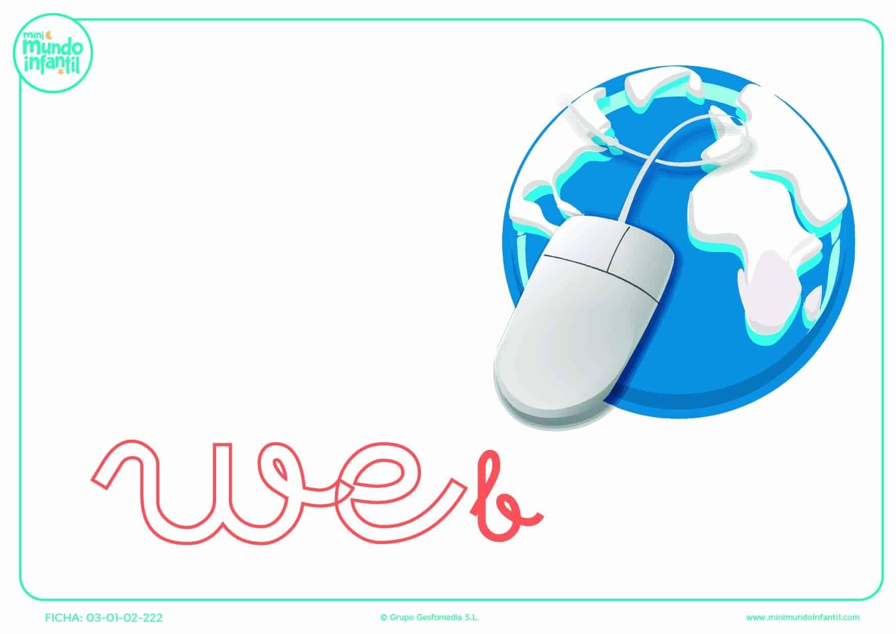 Sílaba WE minúscula de web para rellenar