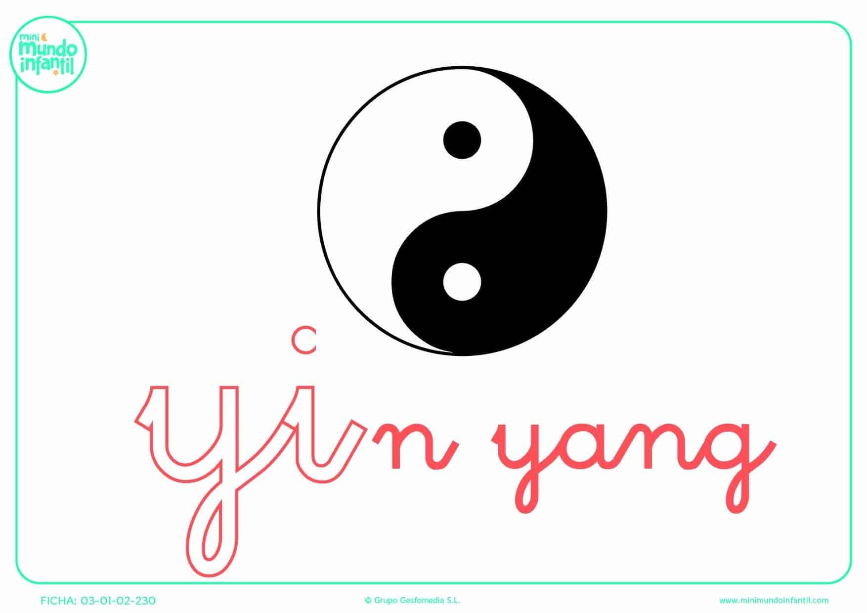 Sílaba YI minúscula de yin yang para que pintes