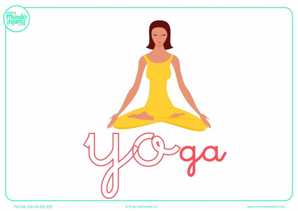 Sílaba YO minúscula de yoga para que pongas color