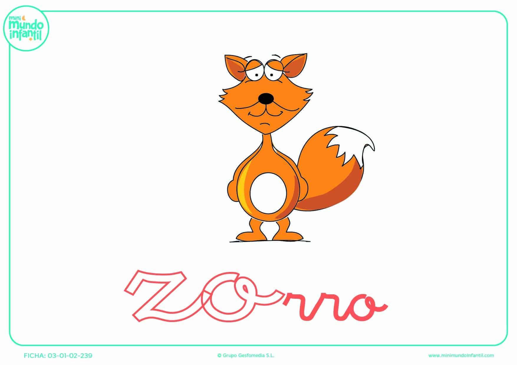 Sílaba ZO de zorro para colorear en minúsculas