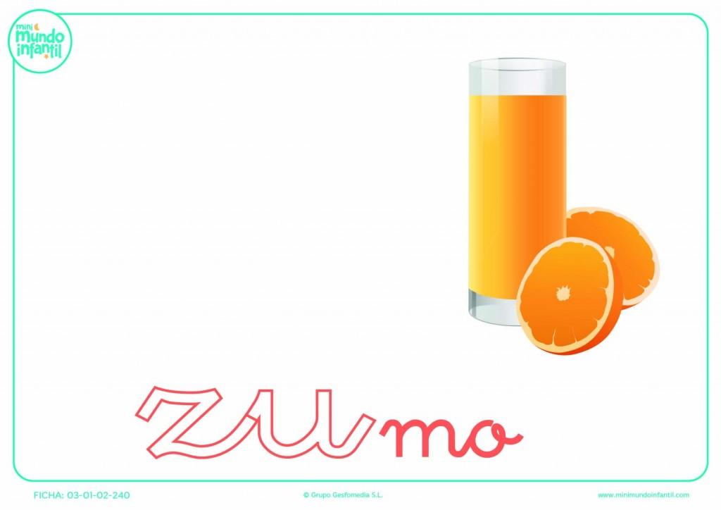 Sílaba ZU minúscula de zumo para rellenar