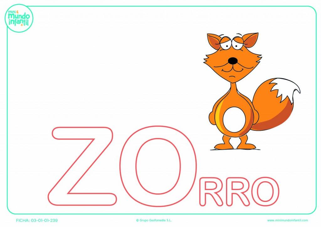 Sílaba ZO de zorro para colorear en mayúsculas