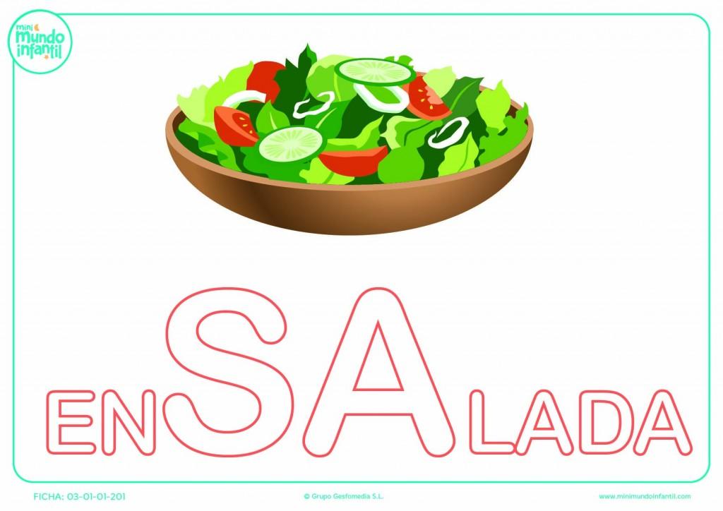 Sílaba SA de ensalada en mayúsculas para colorear
