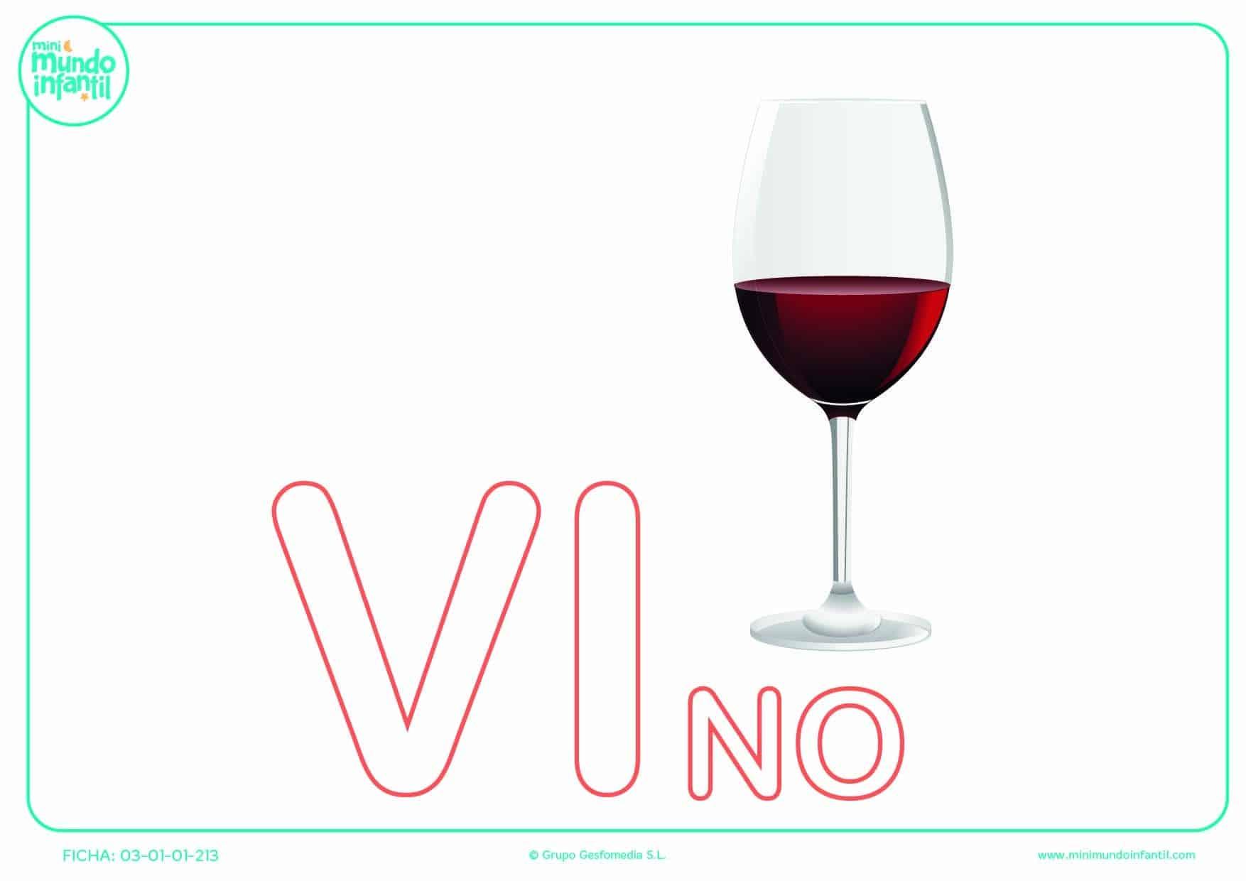 Sílaba VI de vino en mayúsculas para rellenar