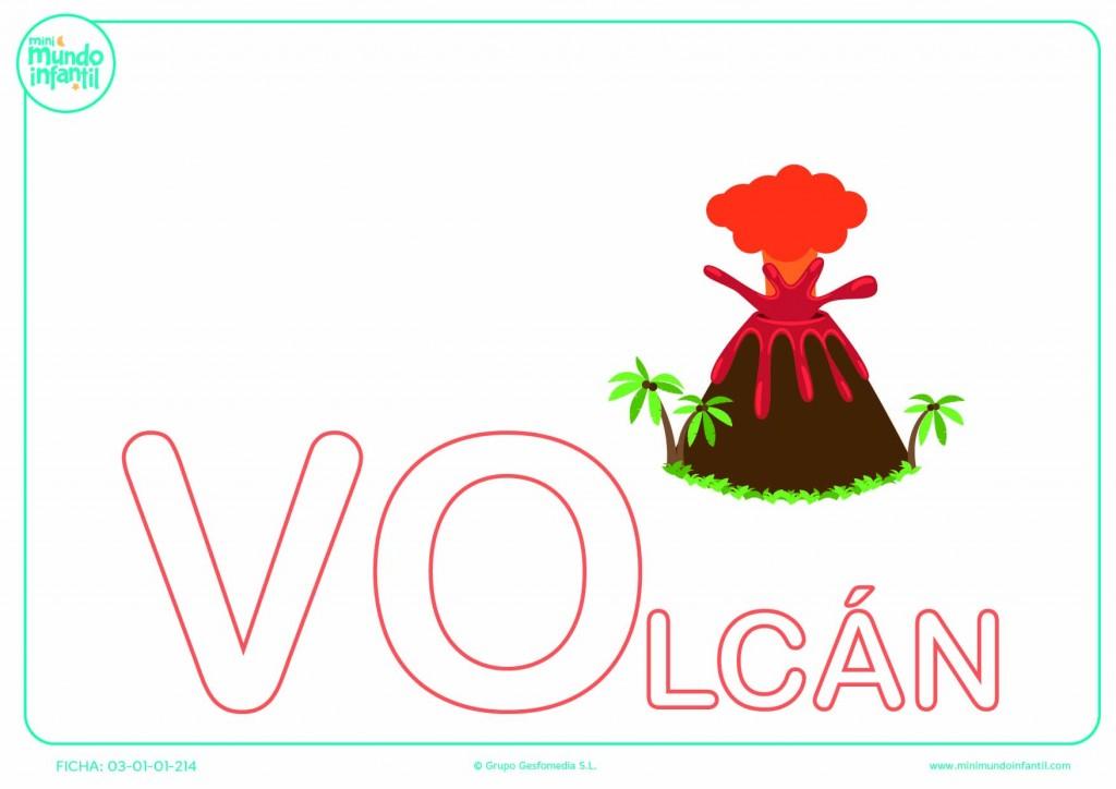Sílaba VO de volcán en mayúsculas para poner color