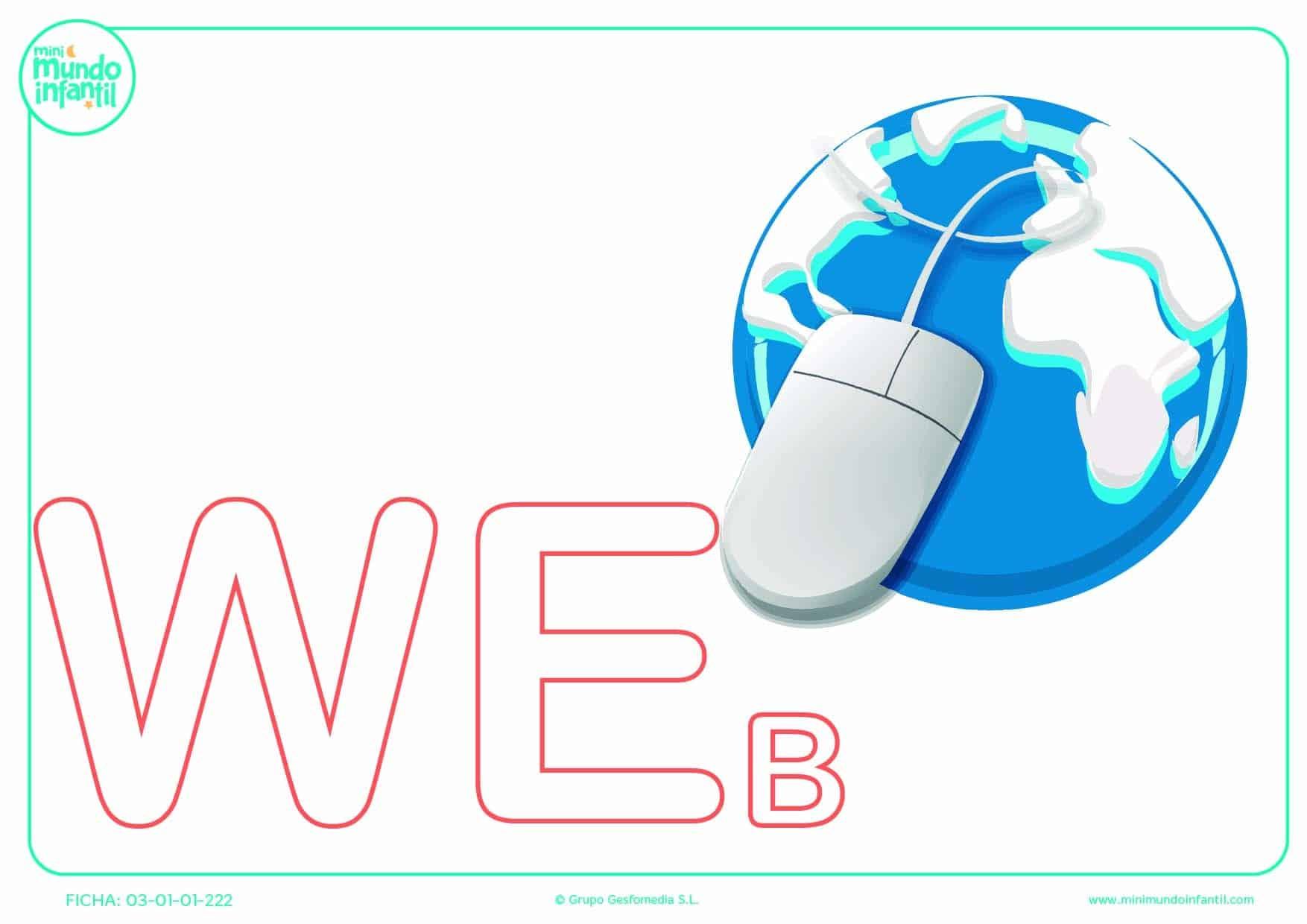 Sílaba WE mayúscula de web para pintar