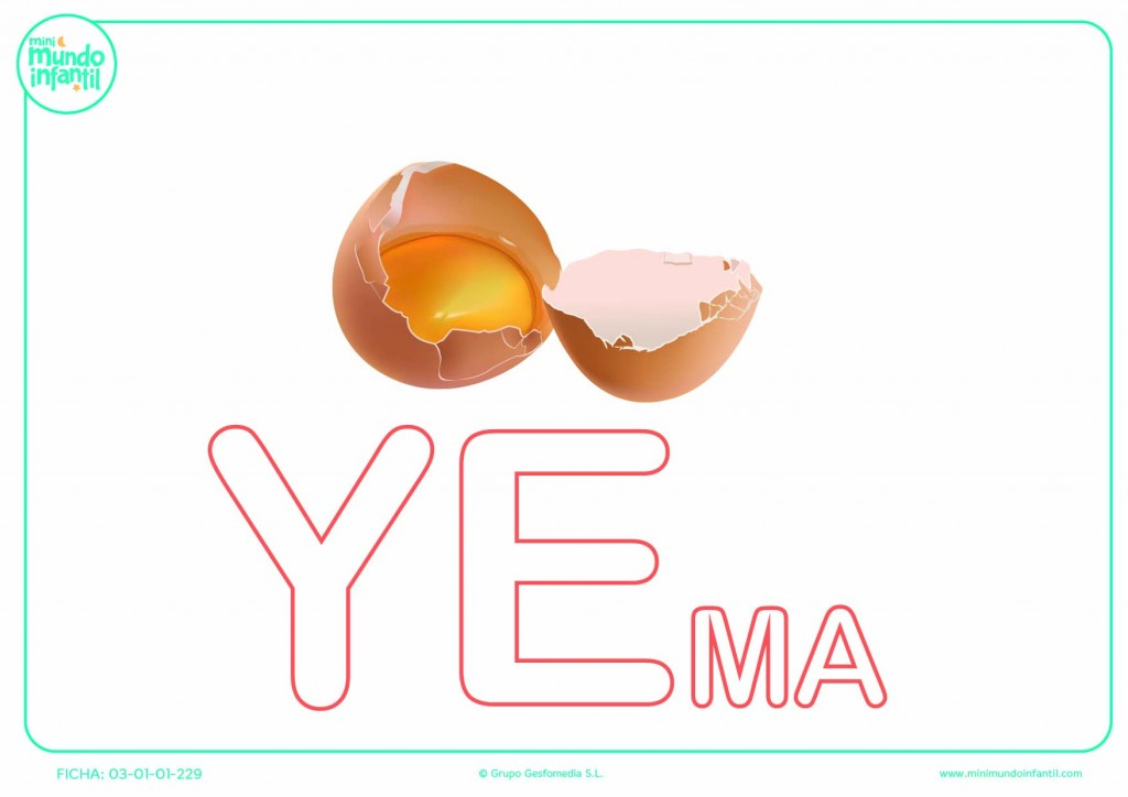 Sílaba YE mayúscula de yema para colorear
