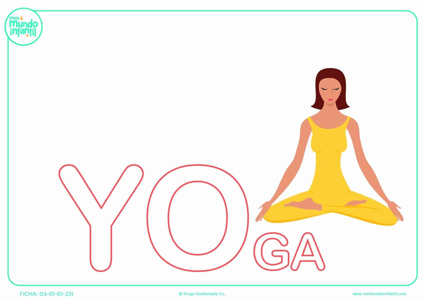 Sílaba YO mayúscula de yoga para poner color