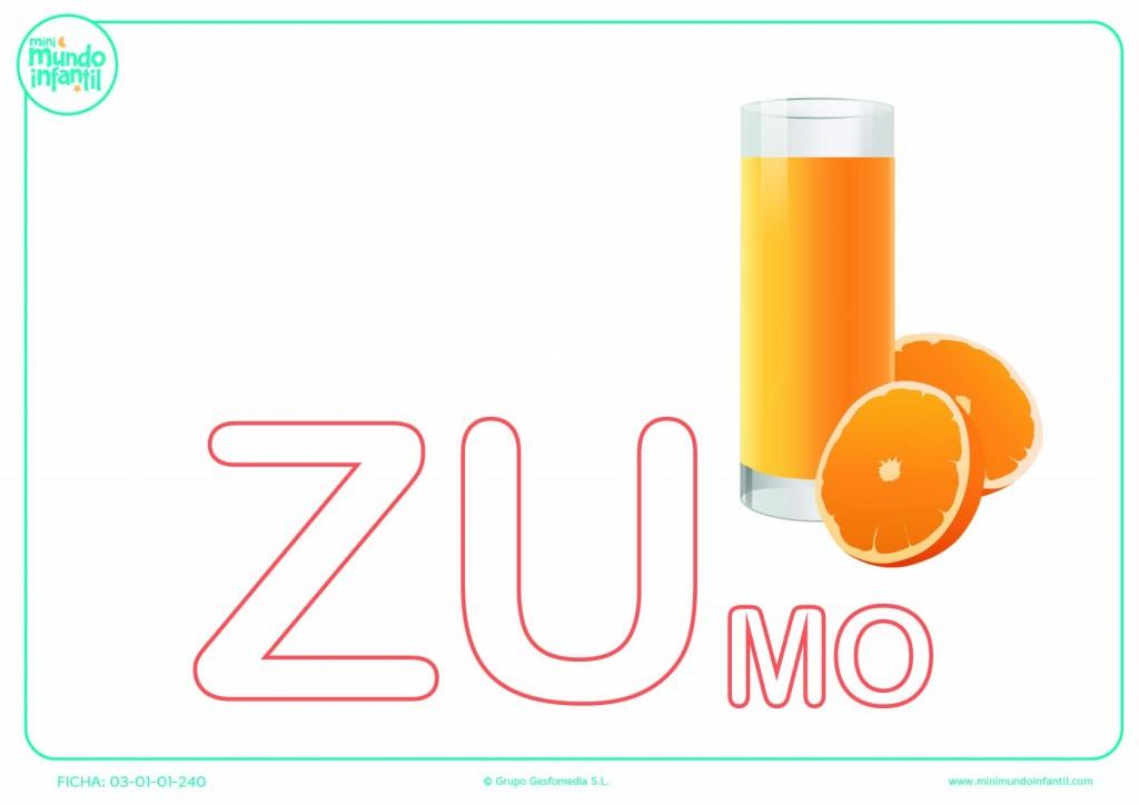 Sílaba ZU mayúscula de zumo para pintar