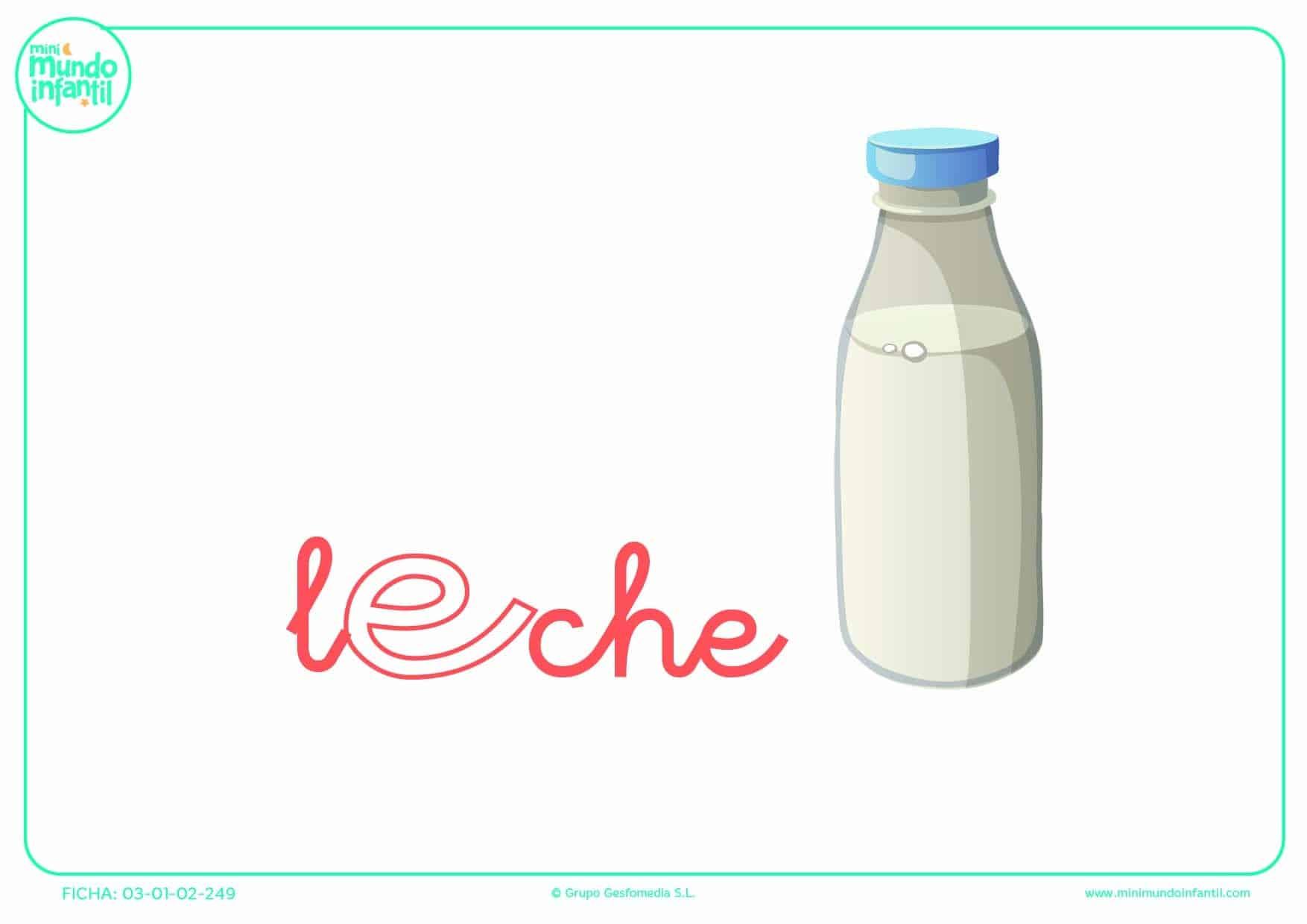Letra E minúscula de leche para rellenar