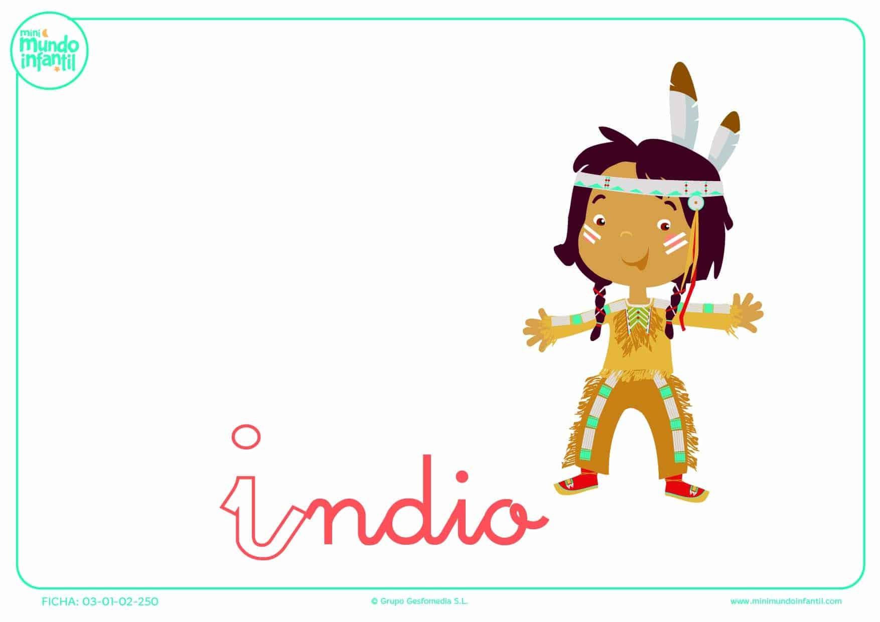 Pintar la letra I minúscula de indio