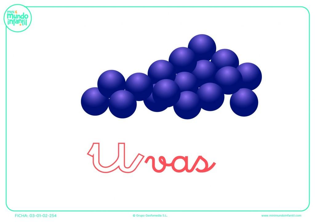 Completar la letra U minúscula de uvas