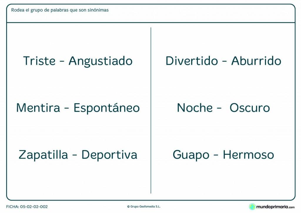 Ficha de palabras con significados similares para niños de primaria