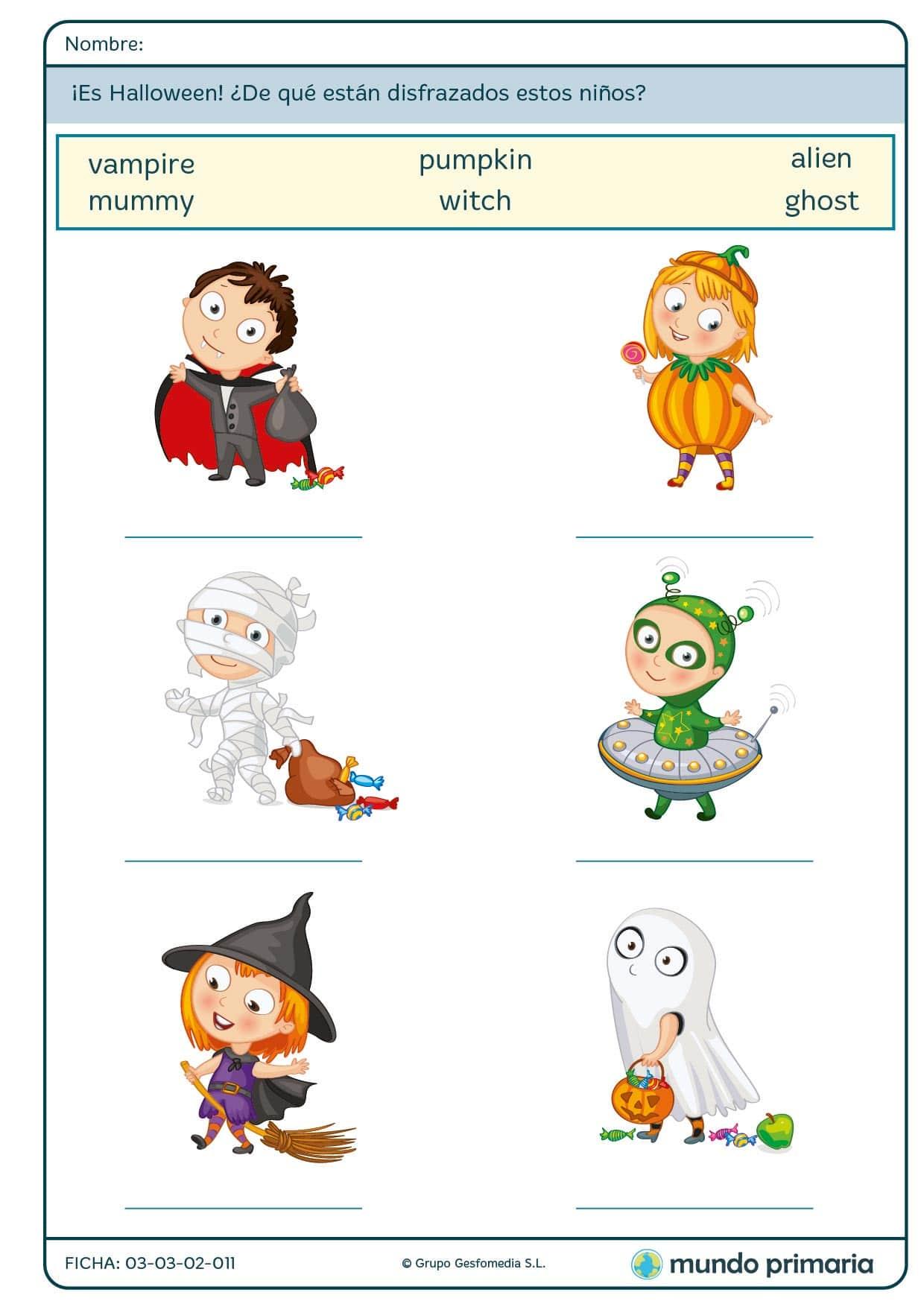 Ficha de disfraces de niños para alumnos de 1º de Primaria